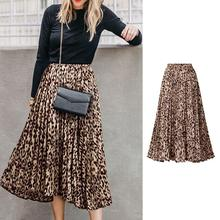 2019 New Girl Women Skirt Female High Waist Leopard Print A-Line Long Pleated For Summer Spring Clothes Oversized