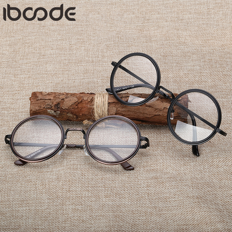 Iboode Retro Round Glasses Frame Women Clear Lens Myopia Eyeglasses Frames Men Transparent Optical Prescription Eye Glasses 2019