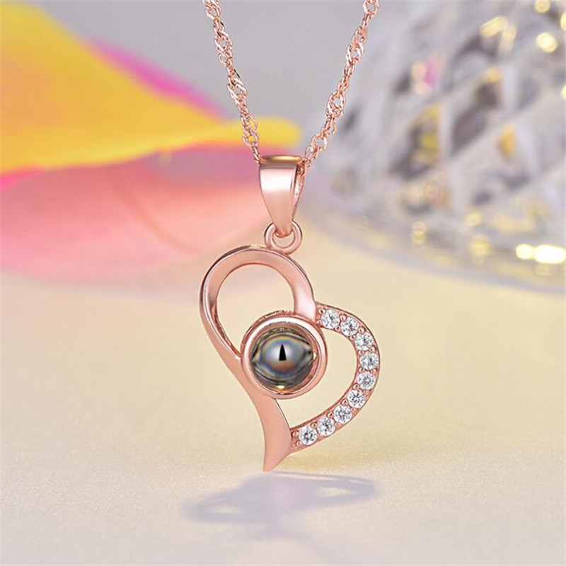 H383cf51162574ba7be0384d03f67ccf8w - Rose Gold 100 languages I love you Projection Pendant Necklace Romantic Love Memory Wedding Necklace