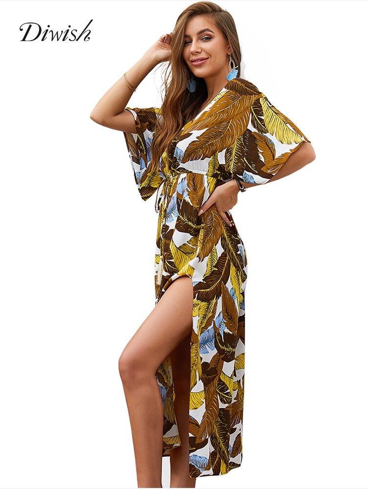 Diwish Sexy Women Summer Dress Sundress 2019 Green/Yellow Leaf Print Long Maxi Half Sleeve Beach Holiday