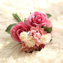 Silk Artificial Flowers Rose Dahlia Daisy Hybrid Fake Bouquet  For Wedding Home Garden Decorations 1 Pcs