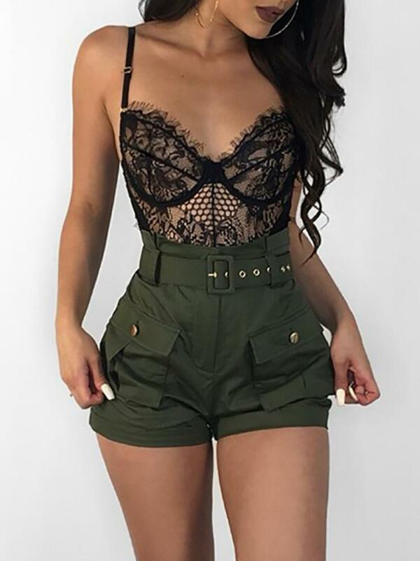 2019 New Casual Women A-line Shorts High Waistband Summer Green Shorts Stylish Ladies Loose Beach Belt Short Trousers