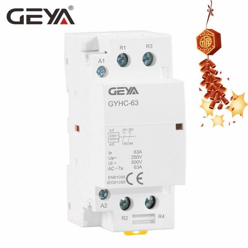 Contactor Modular de CA DIN Tipo de carril AC220V 230V automático GEYA 2P 63A 2NC o 2NO para el hogar envío gratis TOCT1 2P 25A 220 V/230 V 50/60 HZ, carril Din hogar ac contactor Modular 2NO 2NC o 1NO 1NC