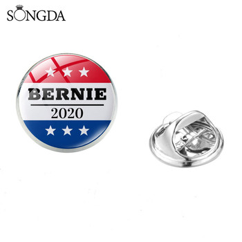 Bernie USA 2020 Presidential Election Glass Cabochon Brooch Biden Politics Election Photo Brooches Women Men Jewelry Gift image