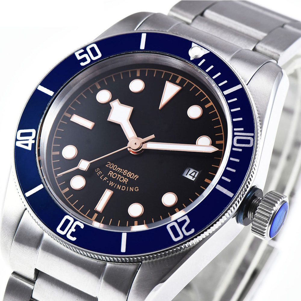 Corgeut 41 мм брендовые Роскошные мужские часы из нержавеющей стали, спортивные светящиеся водонепроницаемые мужские автоматические механичес... - 2
