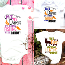 Fishing shirt Pack my diapers I'm going fishing & I am going hunting with Daddy Shirts Little Boy girl Bodysuit One piece