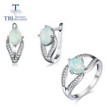 TBJ,Good color Opal Jewelry Set Natural real gemstone with 925 sterling silver ring and earrings fine jewelry new style 2020 tbj feather gemstone ring with natural ethopian opal good fire in 925 sterling silver fine jewelry for girls with jewelry box
