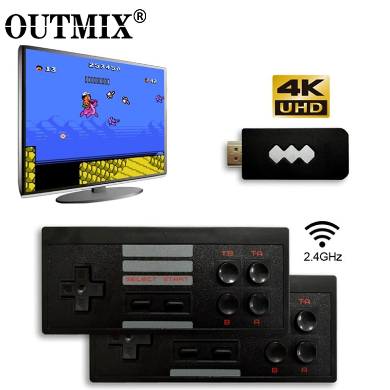 OUTMIX 4K HDMI Video Game Console Built in 568 Classic Games Mini Retro Console USB Wireless Controller HDMI Output Dual Players