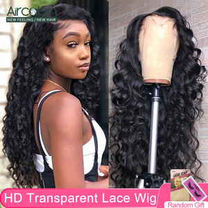 Aircabin 32 30 Inch 13x4 HD lace Front Wigs Loose Deep Wave Brazilian Human Hair Transparent Lace Wigs For Black Women Non-Remy(China)