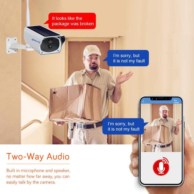 HD 1080P Solar WiFi IR Bulllet Security IP Camera Outdoor Sony IR Night Vision Audio PIR Alarm CCTV Battery Camera with SD Card 5