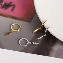 CANNER Punk Gold Small Hoop Earrings for Women Girls 925 Sterling Silver Circle 2019 Lightning Earring Jewelry Gift Q40