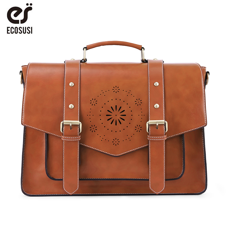 ECOSUSI 15.3 Inch Women Laptop Bag Leather PU Handbag Shoulder Tote Bag Retro Messenger Bag School Vintage Crossbody Bag Bagpack