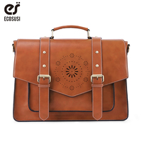 ECOSUSI 15.3 Inch Women laptop Bag Leather PU Handbag Shoulder Tote Bag Retro Messenger Bag School Vintage Crossbody Bag Bagpack