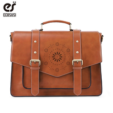 цена на ECOSUSI 15.3'' Women Leather PU Handbag Female Shoulder Buckle Tote Bag Retro Messenger Bags School Vintage Crossbody Bagpack