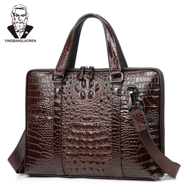 Men's Briefcase 100% Genuine Leather Men's Bag Alligator Prints Sacs Pour Hommes Maleta 15inch Computer Bag A Case For Documents