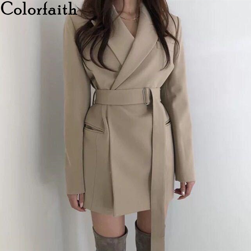 Colorfaith New 2019 Autumn Winter Women's Blazers Sashes Jackets Notched Outerwear England Style Solid Cardigan Tops JK9715