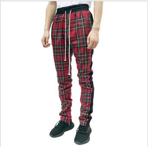 Image 3 - Vintage Scottish Plaid Joggers Pants Mens Tartan Track Pants Justin Bieber Drawstring Ankle Strap Zip Patch Sweatpants Hip hop