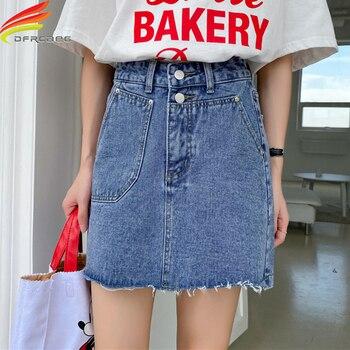 Wysokiej talii Mini spódniczki dżinsowe damskie lato 2020 New Arrival duże kieszenie niebieskie lub białe krótkie dżinsy z pomponem spódnica linii kobiet