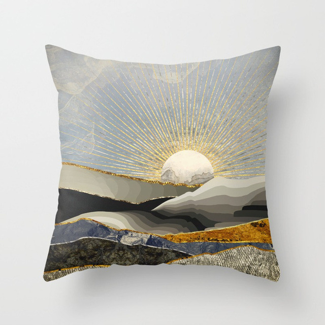 Geometric Landscape Patterned Cushion Cover