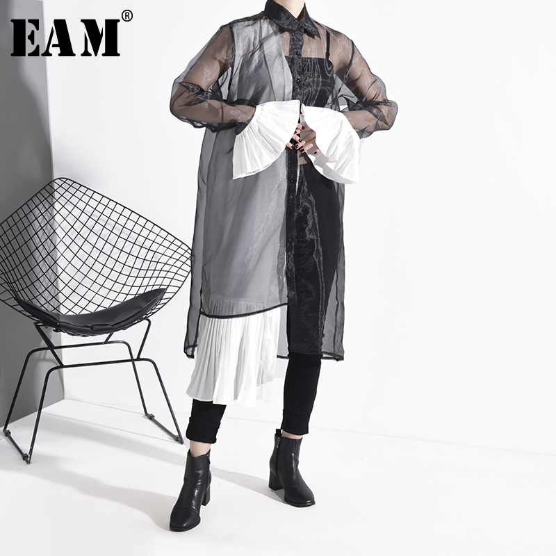 [EAM] Women Mesh Pleated Split Joint Shirt Dress New Lapel Long Sleeve Loose Fit Fashion Tide Spring Autumn 2020 1N82501