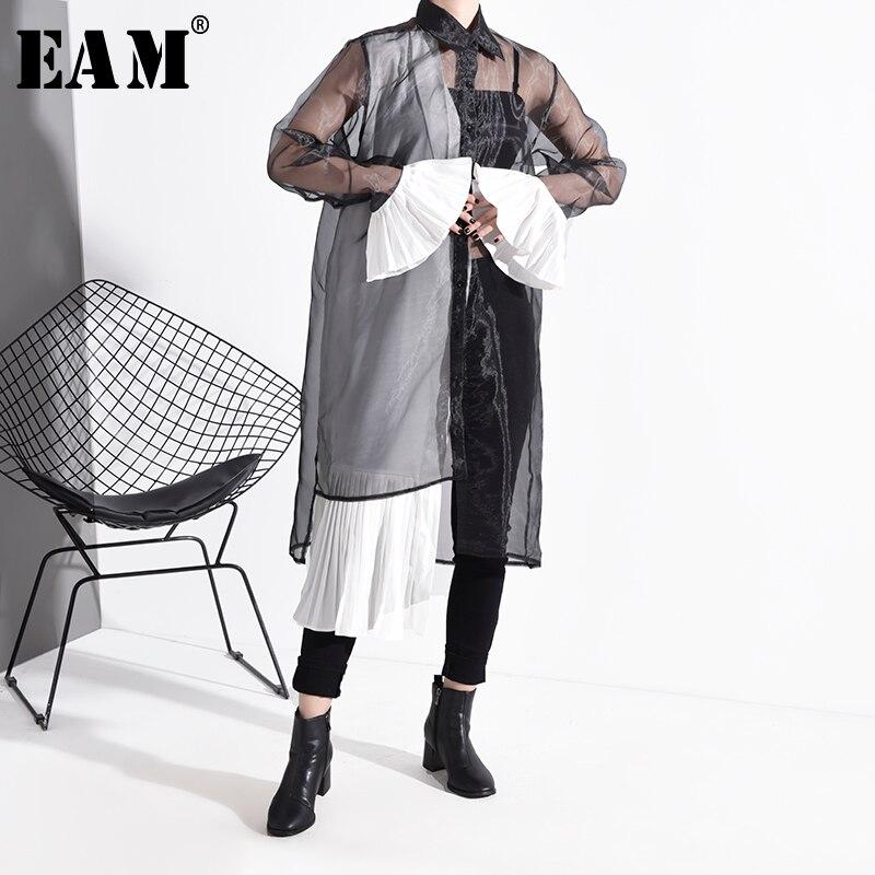 [EAM] Women Mesh Pleated Split Joint Shirt Dress New Lapel Long Sleeve Loose Fit Fashion Tide Spring Autumn 2020 1N82501