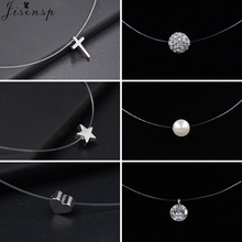 New Fashion Transparent Fishing Line Invisible Necklace for Women Simple Imitation Pearl Crystal Zircon Cross Choker Necklaces