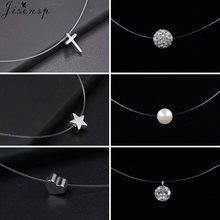 Nova moda transparente linha de pesca invisível colar para as mulheres simples imitação pérola cristal zircão cruz gargantilha colares