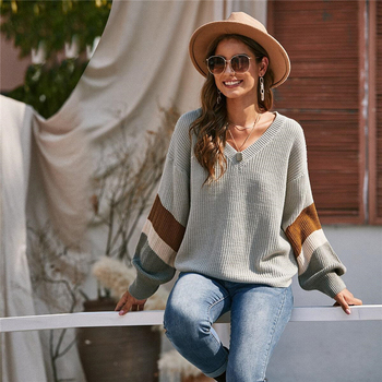 Suéter manga larga gota cuello V casual otoño