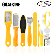 GOALONE 10 in 1 Foot Scrubber Professional Pedicure Tools Kit Rasp File Callu Remover Set Feet Exfoliating Cleaner