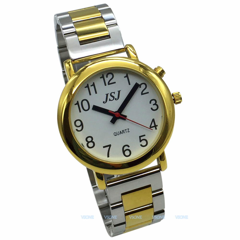 English Talking Watch With Alarm Function, Talking Date And Time, White Dial, Folding Clasp, Golden Case TAG-505
