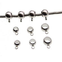 20pcs Stainless Steel Spacer Beads for Jewelry Making Necklace Pendant Pinch Clips Bails, Big Hole Beads DIY Charm Bracelets