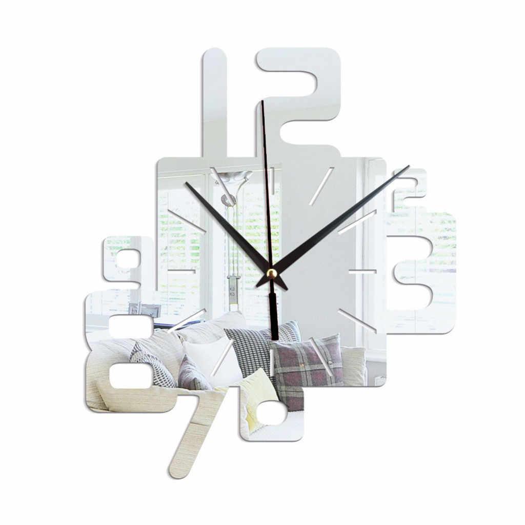 アート現代高級デザイン DIY ミラー壁時計リムーバブル 3D クリスタルミラーウォールステッカーリビングルームのベッドルームの装飾リロイデ比べ
