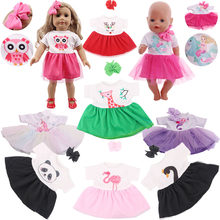 Cute Unicorn/Swan/Owl/Panda... 14 Styles Dress Fit 18 Inch American Doll&43 CM Born Baby Doll Clothes,Our Generation,Girl's Toys(China)
