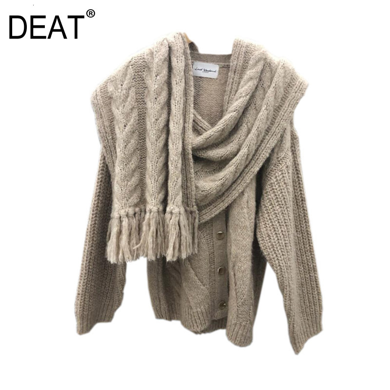 DEAT 2020 New Winter V-neck Scarf Collar Knits Fake Two Pieces Sweater Female Single Breasted Cardigan WK0450