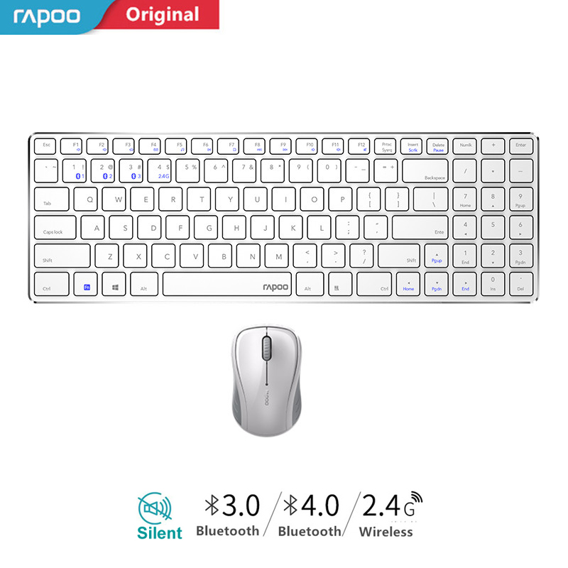 New Rapoo 9060M Multi-mode Silent Slim Wireless Keyboard Mouse Combos Switch Between Bluetooth & 2.4G Connect Up To 3 Devices