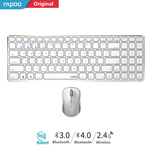 Nova Rapoo Multi-modo Silencioso Combos Teclado E Mouse Sem Fio Bluetooth 3.0/4.0 RF 2.4g alternar entre 3 dispositivos de Conexão #9060 m #