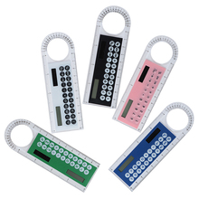 1pcs Solar Mini Calculator Magnifier Multifunction 10cm Ultra-thin Ruler Calculadora School Office Supplies 5 Colors