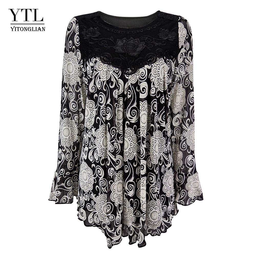 YTL Womens Plus Size Elegant Mature Floral Loose Tunic Top Shirt Sleeve Oversize Blouse Holiday Summer Shirt 6XL 7XL 8XL H036