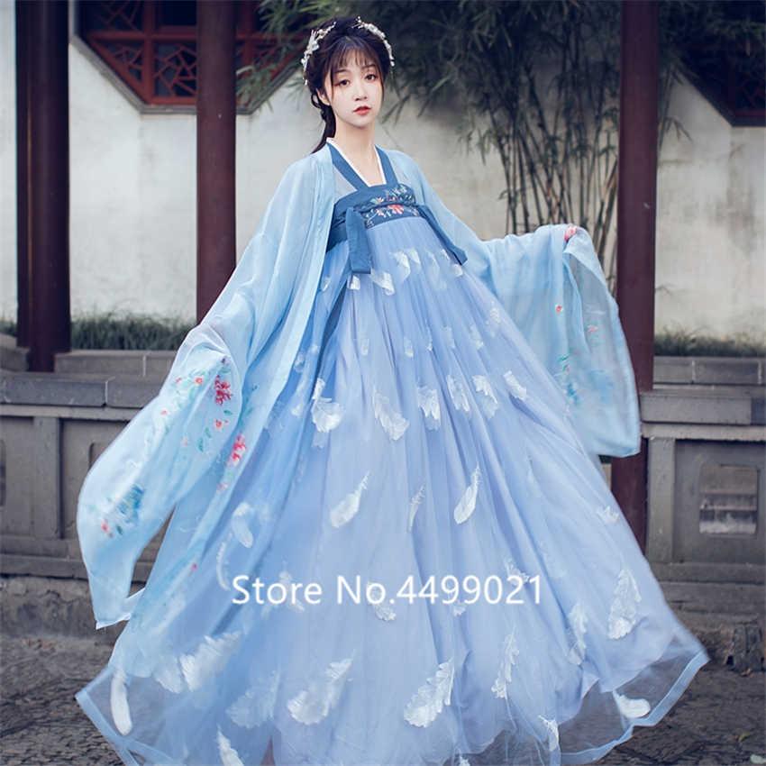 Tradycyjne azjatyckie kobiet Hanfu kostium sukienka wróżki chiński Folk odzież do tańca zestaw Retro dynastii Tang księżniczka Cosplay etap Wear