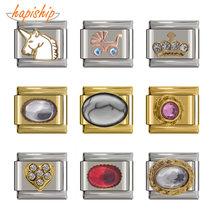 Hapiship pulseira original de 2019, 9mm de largura, com coroa de coração, unicórnio, transporte de bebê, charme, 9mm, pulseira de aço inoxidável link dj129