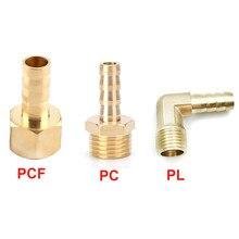 Connecteur de tuyau en laiton de 6, 8, 10, 12, 14mm, filetage de tuyau, filetage de 1/8, 1/4, 3/8 et 1/2 pouces (PT), raccords de tuyaux d'eau