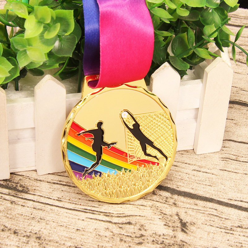 Zinc Alloy Football Medal Sports Competitions School Sports Medal Sports Gold Silver Bronze Medal Free Print