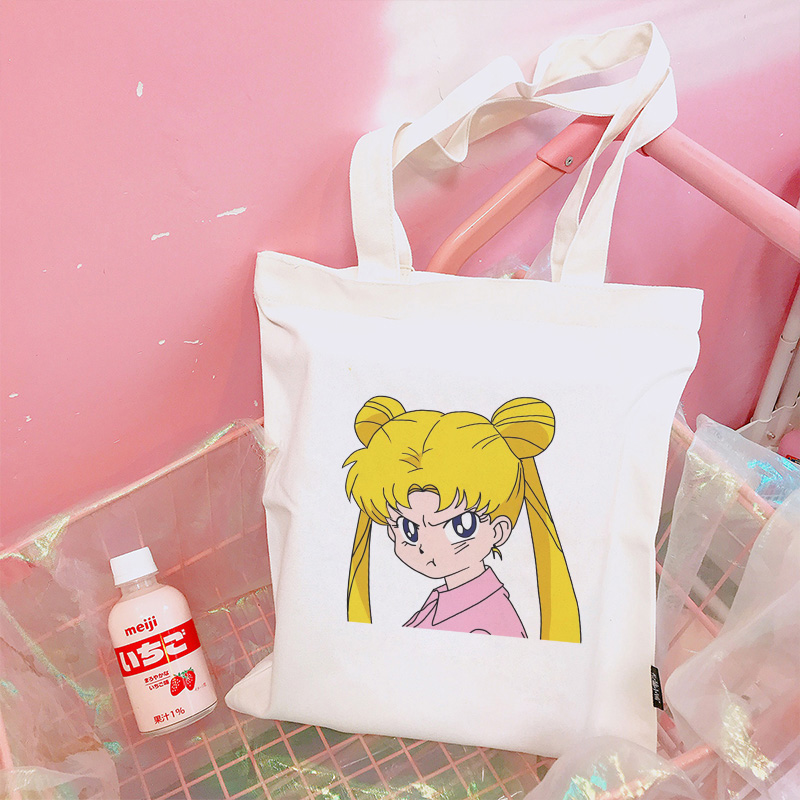 Japanese Sailor Moon Large Casual Drawstring Bags Harajuku Backpack Simple Handbag College Wind Ulzzang Women Bag Cartoon Wallet