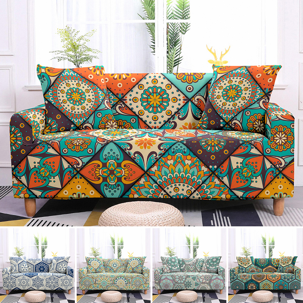 Sofa Slipcovers Stretch Sofa Cover Elastic Couch Cover Sectional Sofa Cover Bohemian Styles Mandala Pattern Sofa Cover 1-4 Seat 1