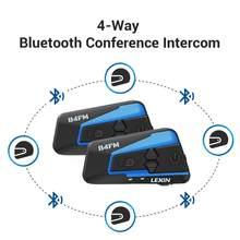 Lexin-Auriculares Bluetooth para casco de motocicleta, intercomunicador con Radio FM para 4 conductores, B4FM