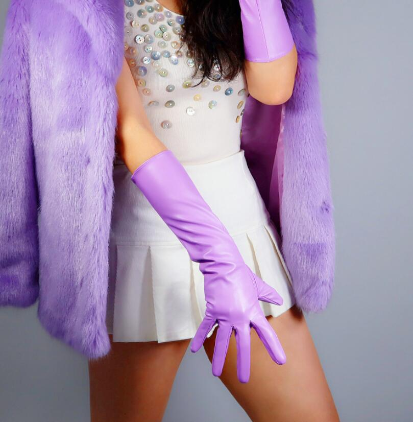 Women's Fashion Purple Sexy Slim Faux Pu Leather Glove Lady's Club Performance Formal Party Leather Long Glove 40cm R2599