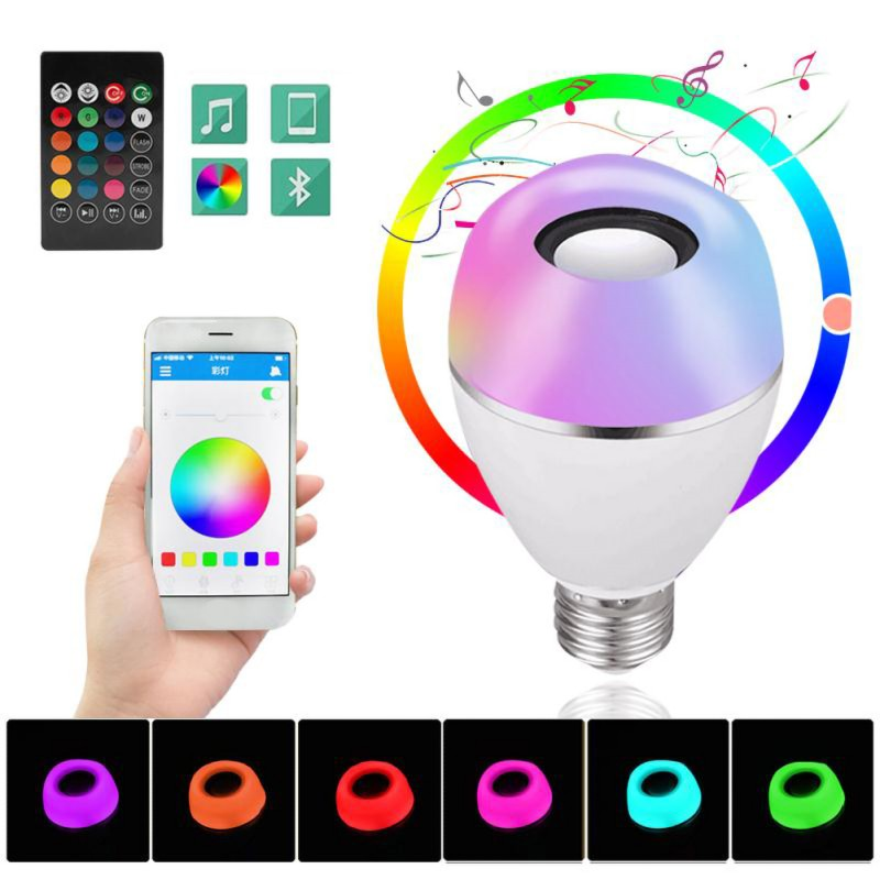 LED Wireless Light Speaker RGB Smart Music Bulb E26 Base Color Changing With Remote Control Decorations - 5