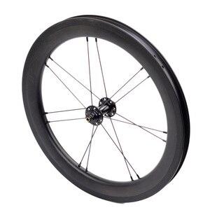 """Image 2 - Juego de ruedas de carbono para bicicleta, juego de ruedas de 5 6 7 velocidades 16x1 3/8 """"349, 14H/21H para Brompton 3sixty, ruedas de bicicleta plegables ultraligeras"""