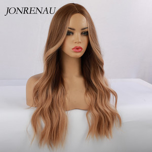 Image 3 - JONRENAU סינטטי Ombre חום כדי זהב בלונד פאה ארוך טבעי שיער פאות עבור לבן/שחור נשים מסיבת או יומי ללבוש