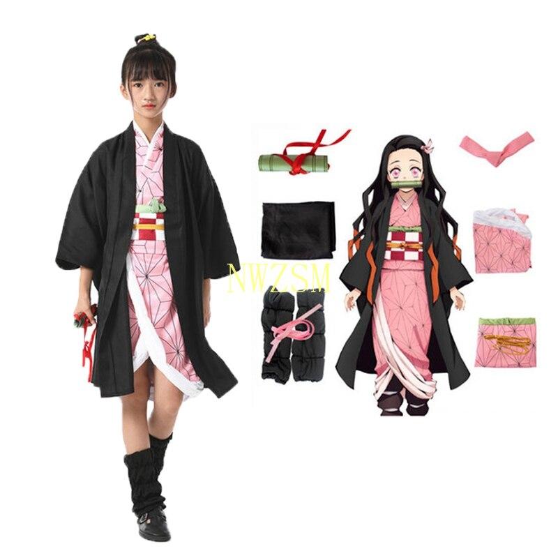 Dämon Slayer Kamado Nezuko Cosplay Kinder Kostüm Mädchen Japanischen Kimono Uniform Halloween Kimetsu keine Yaiba Kostüme Für Kinder